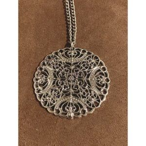 Silver necklace with large pendant